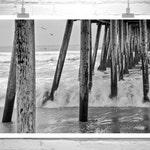 San Diego Wall Art, Black and White Imperial Beach Photograph