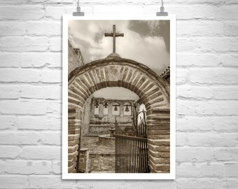 San Juan Capistrano Mission Picture, California Mission Photo, Spanish Missions Church Art, Old Church Photograph, California Gift, Sepia