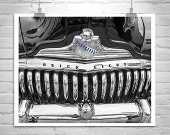 Buick Car Picture, Automotive Wall Art, Buick Roadmaster, Car Photography, Buick Photograph, Black and White, Car Art, Vintage Buick Photo