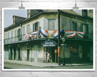 Vintage New Orleans Photo, Mid Century Wall Art, Bourbon Street, Vintage New Orleans, Americana Art, Midcentury Louisiana, New Orleans Gift