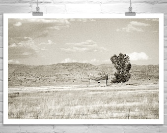 Prairie Art Photography, Western Ranch Picture, Rustic Ranch Photography, Western Landscape Art, Sepia Art Print, Log Cabin Picture