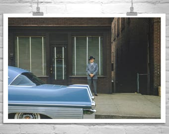 Mid Century Wall Art, Morgantown, West Virginia, Vintage Photograph, Charles Zeller, Glass Manufacturer, Americana Art, 1957 Cadillac