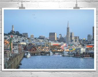 Fishermans Wharf Photo, San Francisco Art, Transamerica Pyramid Photo, San Francisco Gift, Coit Tower Picture, San Francisco Photo