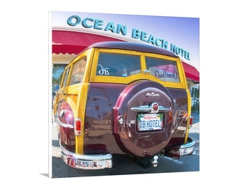 Ocean Beach San Diego Picture, Woody Surf Wagon Picture, Vintage Surfer Car, Surf Woodie, DeSoto Car Art, San Diego Gift, Ocean Beach Gift