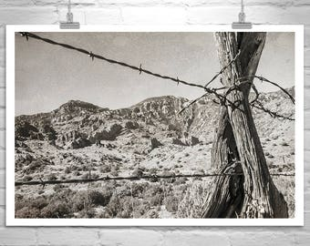 Western Picture, Landscape Photography, Arizona Desert, Rustic Ranch Art, Muleshoe Ranch, Black and White, Gift Picture, Canvas Wall Art