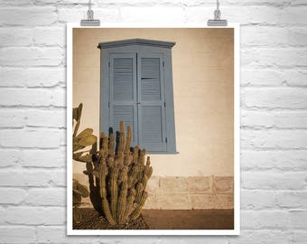 Southwest Decor, Tucson Picture, Old Blue Shutters Picture, Architecture Art, Cactus Art, Tucson Gift, Southwest Architecture, Tucson Photo