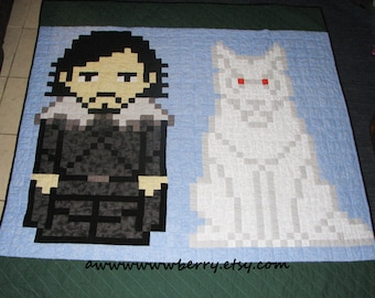 Jon Snow and Ghost Game of Thrones Quilt