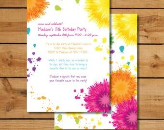 tie dye invitation etsy