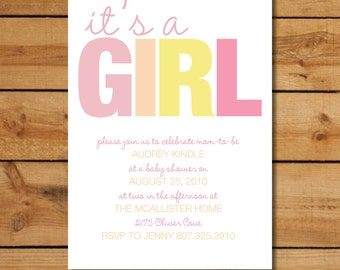 Girl Baby Shower Invitation - It's a Girl - Pink and Yellow Modern Design