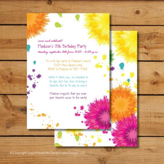 tie dye birthday party invitations art party invitations etsy