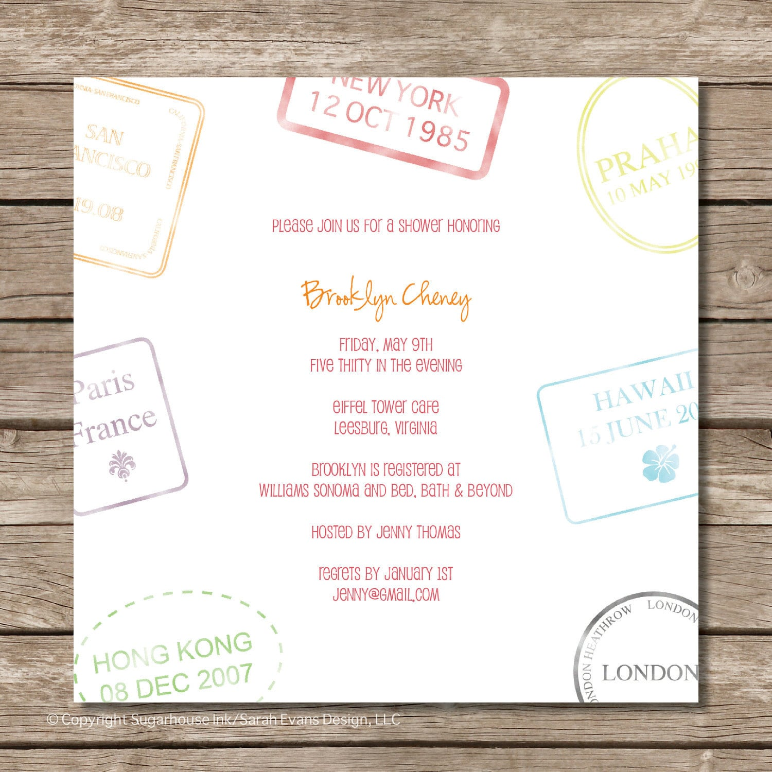 Passport Stamp Bridal Shower Invitation Perfect For Travel