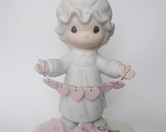 """Precious Moments """"You Have Touched So Many Hearts"""" Figurine - Enesco - Girl with Hearts on String - Original Box and Paperwork - E2821"""