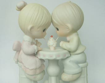 "Precious Moments ""Our Friendship is Soda-Licious"" Porcelain Figurine - Enesco - Vintage Collectible - 1992 - Retired - Soda Shop Friends"