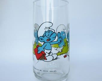 Brainy Smurf Glass from 1982 - Vintage Collectible Smurfs Glass - 80s Cartoons
