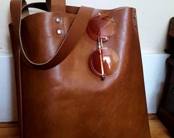 Brown Leather Shoulder Tote Bag