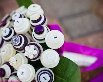 Aubergine Bridal Button Bouquet
