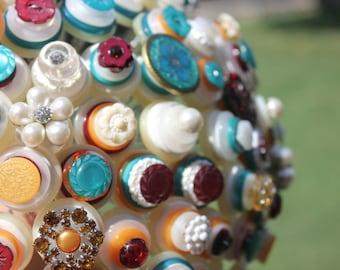 70 Stem Button Bridal Bouquet