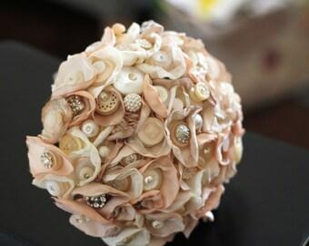 Romantic Gardens Satin and Button Bouquet