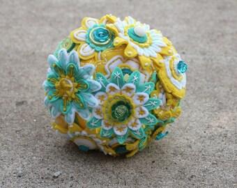 Custom Color 12 Stem Bridesmaid Felt and Button Bouquet