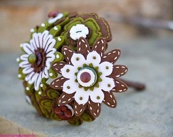 Forest Felt and Button Toss Bouquet