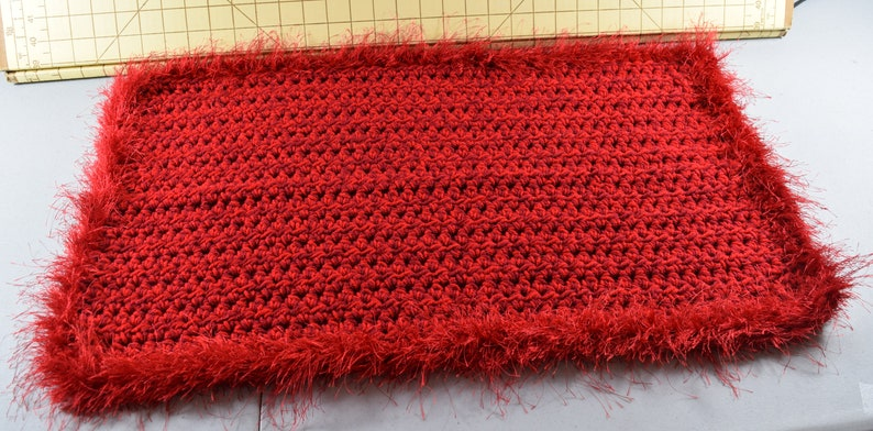Sangria red double thickness cat mat catghan hand crocheted for your special kitty