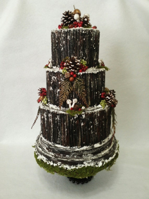 Christmas Centerpiece Buche De Noel Fake Winter Wedding Yule Etsy