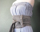 Seersucker Sailor Strapless dress with wide obi belt / sash - READY TO SHIP - blue, green or gray