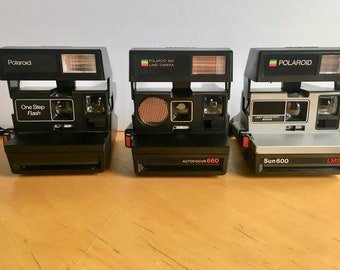 783c0543be0e4 Set of 3 Vintage Polaroid One Step Cameras for Display, Parts or Repair
