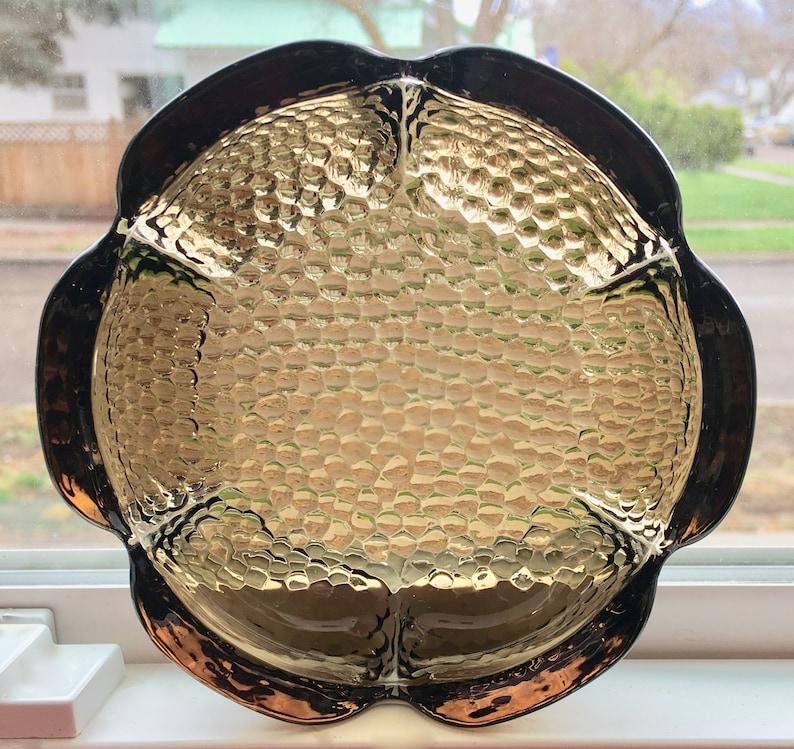 Vintage Smoke Glass Pebble Texture Lotus Shape Ashtray