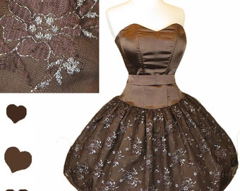 eb8cd0bb Vintage 80s 90s Prom Party Dress S Small M Medium Brown Strapless Metallic  Silver Floral Lace Full Skirt Cocktail Dance 1980s 1990s Queen