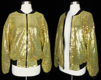 Vintage 80s 90s Gold Sequin Bomber Jacket Womens Glam Party Streetwear Sparkly Shiny Pockets Black Zipper Front 1980s Clothing Shoulder Pads