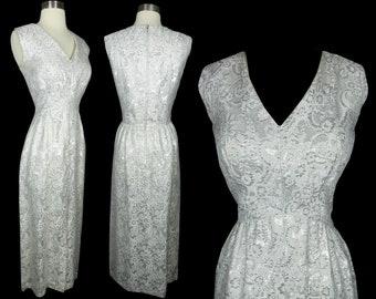 Vintage 50s 60s Silver Metallic Sleeveless Sheath Cocktail Party Maxi Dress M Formal Gown Empire Waist Womens Slit Pinup Rockabilly Hostess