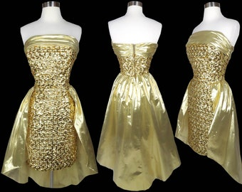 Vintage 80s Gold Sequin Strapless Mermaid Glam Cocktail Party Prom Lame Lamé Metallic Dress S Small Sheath Bombshell Queen Metal Best Short