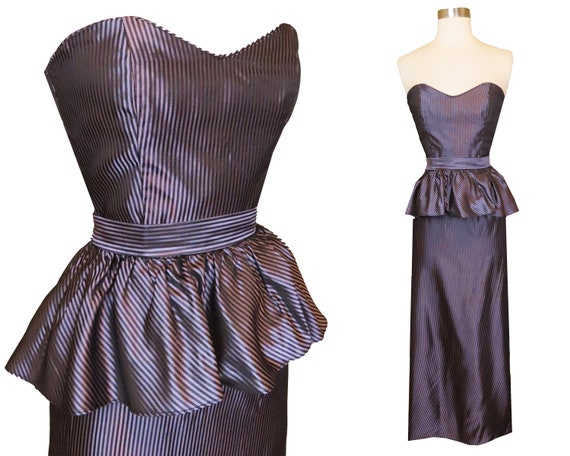 80s Dress, 80s Prom Dress, 40s Dress, Peplum Dress