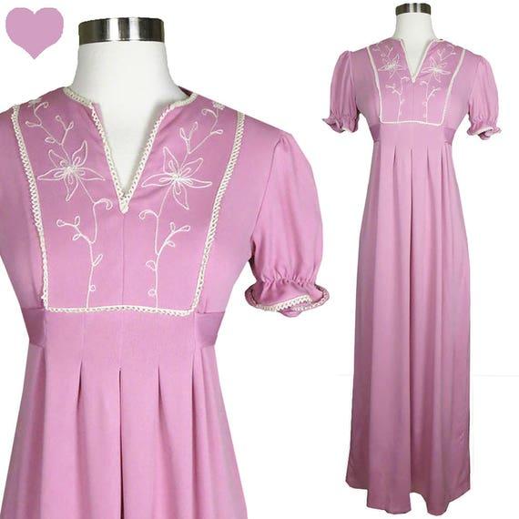Vintage 70s Dress / Pink Maxi Dress / Puff Sleeve