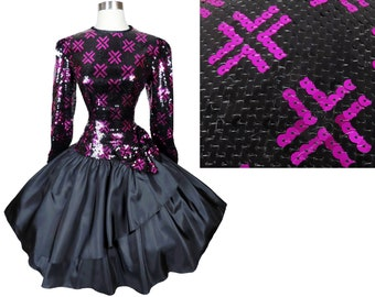 Vintage 80s 90s Sequin Pink Purple Black Prom Party Dress M Medium Taffeta Full Circle Skirt Long Sleeves Metallic Womens Holiday Cocktail