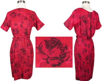Vintage 50s 60s Red Black Roses Floral Print Sheath Dress S Small Draped Back Short Sleeves Cocktail Party Wiggle BOWS Pinup Rockabilly VLV