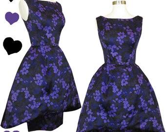 Vintage 50s Dress / Pauline TRIGERE / Trigere 50s Dress XXS XS Purple Black Floral Silk Peplum Party Designer Cocktail Pinup Rockabilly