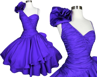Vintage 80s Purple Prom Party Dress S Small Full Circle Skirt One Shoulder Ruffle Poof Dance Ruffle Ruffled Womens Grape Homecoming Dance