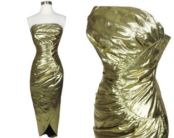 Vintage 80s Gold Strapless Cocktail Party Prom Dress XS S Extra Small Golden Goddess Red Carpet Womens Old Hollywood Queen Wild Formal Gown