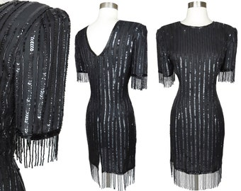 Vintage 80s Black Sequin Beaded Fringe Beads Cocktail Party Dress L Large New NOS Tags Prom Homecoming Dance Silk Cruise Glam Short Sleeve