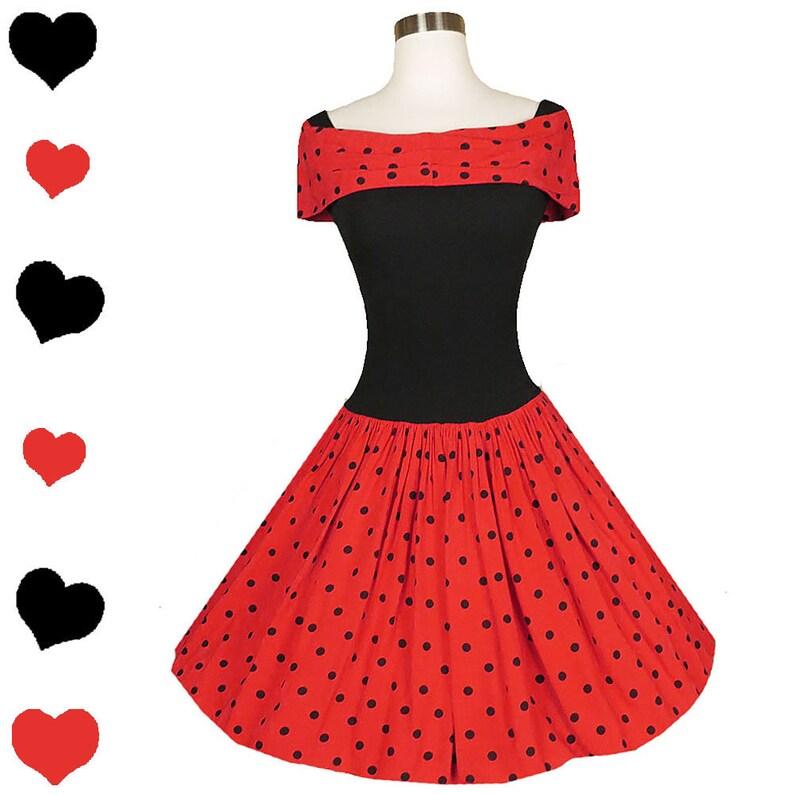 1533869df7b Vintage 80s Dress   80s 50s Dress   80s Prom Dress   Red Black