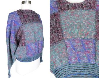 Vintage 80s Dolman Sleeve Wool Long Sleeve Sweater Pull Over Unisex Womens