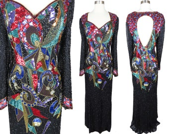 Vintage 80s Colorful Heavily Beaded Cocktail Party Prom Maxi Dress  L XL Long Sleeve Sheath Gala Pageant Gown Glam Bombshell Silk Womens