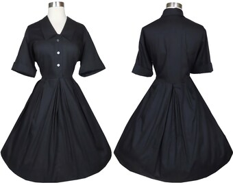 Vintage 50s 60s Black Shirtwaist Full Skirt Rockabilly Dress XL XXL Pinup Day Swing Dance Party Classic Fit and Flare Buttons Button Front
