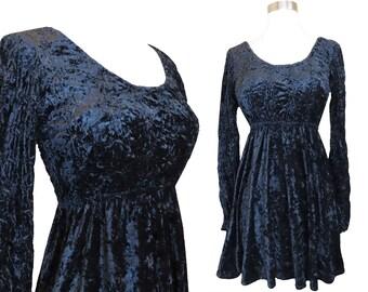 Vintage 90s GOTH Grunge Dress S Small Black Velveteen Crushed Velvet Long Sleeve Babydoll Women Mini Short Full Skirt Skater Party 1990s