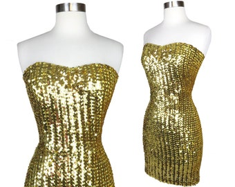 Vintage 80s Gold Sequin Strapless Wiggle Mini Skirt Short Prom Party Dress S M Disco Ball Sparkly Sparkle Shiny Womens Holiday Homecoming