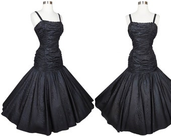 Vintage 80s 50s Black Mermaid Prom Party Dress XS Extra Small Homecoming Dance Queen Pageant Gown Dancing Full Skirt Moire Taffeta Sequins