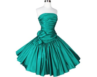 Vintage 80s Green Strapless Prom Party Dress S Small Taffeta Full Circle Skirt Bow Holiday Cocktail Homecoming Formal Gown New NOS NWT Women