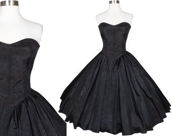 Vintage 80s 50s Black Moire Taffeta Strapless Prom Party Dress XS Full Circle Skirt Classic Old Hollywood Homecoming Dance Queen Sweetheart
